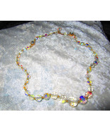 Vintage single strand Aurora Borealis crystal necklace  21 inches - $22.00