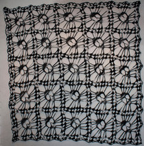 Hand Crochet Skull Afghan  Table Topper  Shawl Night Camo - $182.90