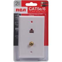 RCA Cat 5e/6 F Connector Wall Plate (TPH557R),Multicolor - $18.99