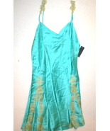NWT New Designer Josie Natori Night Gown Chemise Blue Tan S Silk Lace Wo... - $201.50