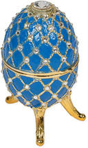 Periwinkle Blue Faberge Egg Shaped Metal Al Figurine Plays Waltz Of The ... - $306.67