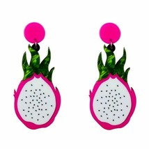 Acrylic Drop Earrings Women's Resin Dragon Fruit Food Big Dangle Fashion... - $10.43
