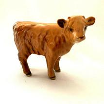 Vintage Beswick Highland Calf Rare 1827D Tan Brown Gloss England - $83.16
