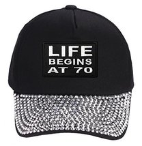 Life Begins At 70 Hat - Rhinestone Black Adjustable Womens - $17.05