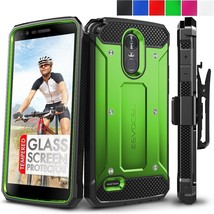 For LG Stylo 3 Case Cover Hybrid Shockproof Glass Screen Protector Clip Holster - $16.90