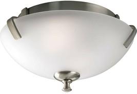 Progress Lighting Flush Mount Light 14 in. 2-Light Etched Glass Brushed ... - $82.81