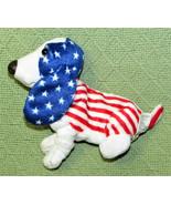 APPLAUSE HUSH PUPPIES AMERICANA BEANBAG PUPPY DOG #25832 PLUSH RED WHITE... - $11.30