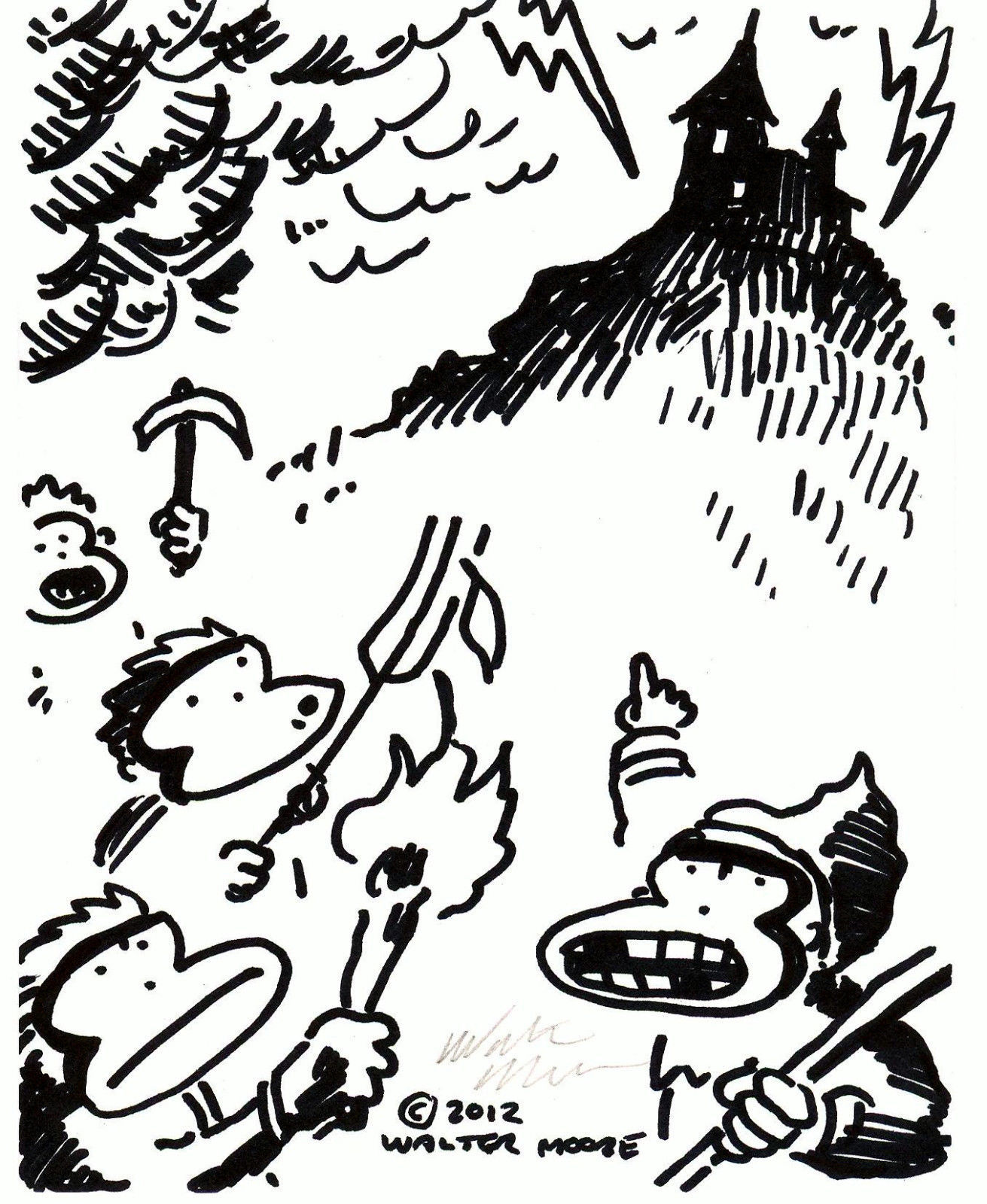 Primary image for Ape Peasants Storm the Castle. Original Signed Cartoon by Walter Moore 28D12