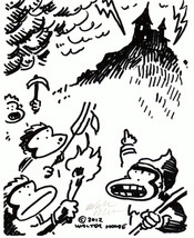 Ape Peasants Storm the Castle. Original Signed Cartoon by Walter Moore 2... - $9.52
