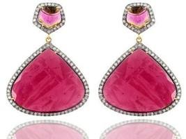 Tourmaline 925 Silver Pave 2.49ct Diamond Drop Earrings 14k Gold Vintage... - $2,652.75