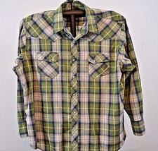 Wrancher by Wrangler Western shirt Big 2X Green Plaid long sleeve cotton blend - $27.99