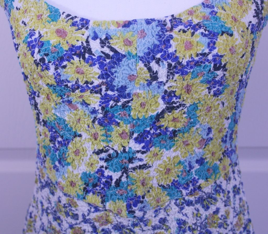 Free People Floral Stretchy Boho Skater Mini Yellow & Blue Dress Sz S