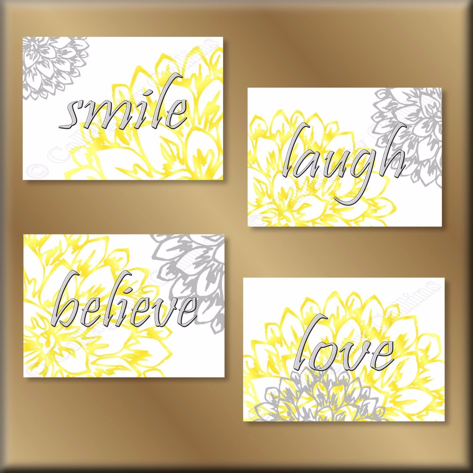 Primary image for Yellow Gray Wall Art Prints Decor Laugh Love Believe Smile Flowers Floral Dahlia