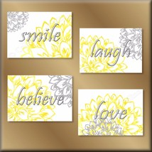 Yellow Gray Wall Art Prints Decor Laugh Love Believe Smile Flowers Flora... - $13.99