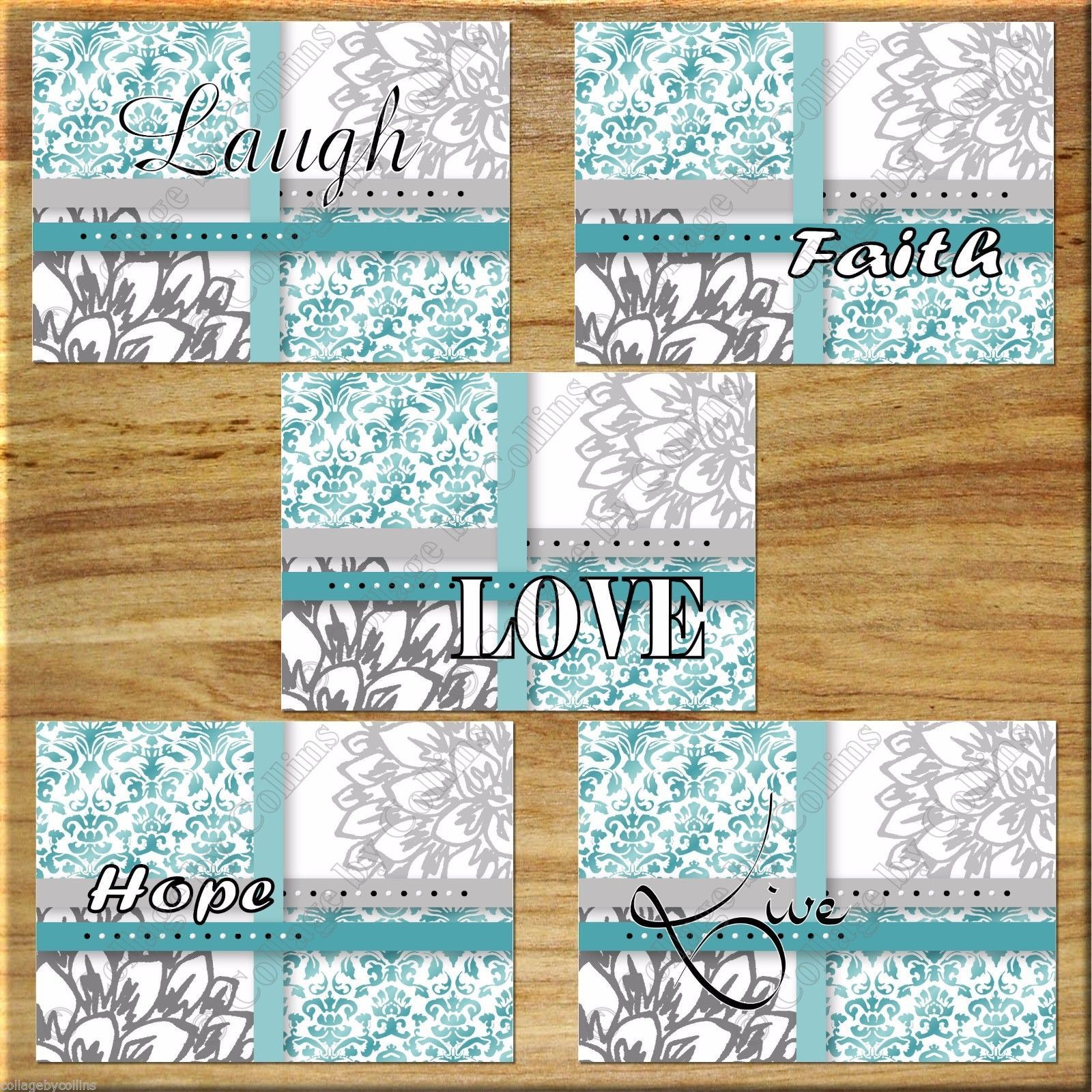 Primary image for Teal Aqua Gray Floral Wall Art Prints Quotes Flower Damask Faith Hope Love Laugh