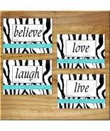 Turquoise Zebra Wall Art Prints Decor Girls Teen Dorm Live Laugh Love Be... - $13.79