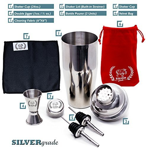 Cocktail Shaker Set by SILVERgrade Professional Martini Bartender Kit 24