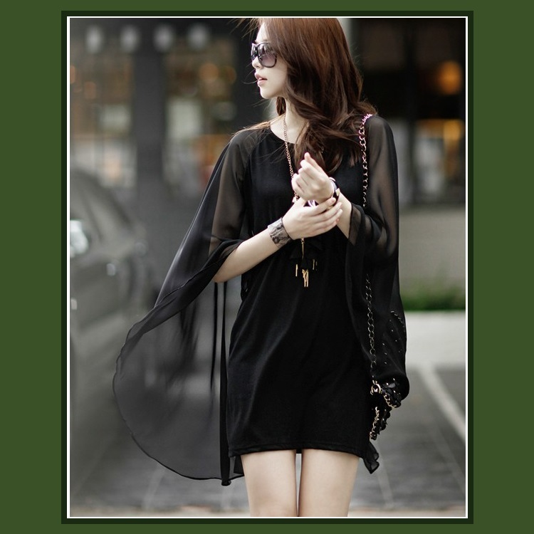Sheer Flowing Chiffon Draped Cape on Black Sleeveless Mini Sheath Dress