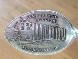 OLD San Gabriel Mission LOS ANGELES CA Sterling Silver Souvenir Spoon CA... - $19.99