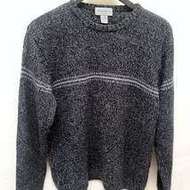 Eddie Bauer Mens L Sweater Gray Marled Crew Neck Long Sleeve Pullover - $21.53