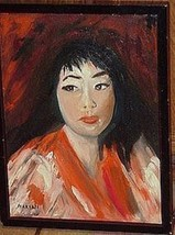 Original Oil Painting : Woman in Red Kimono - $589.05