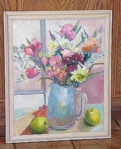 Oil Painting: Floral Still Life with Blue Pitcher - $272.25