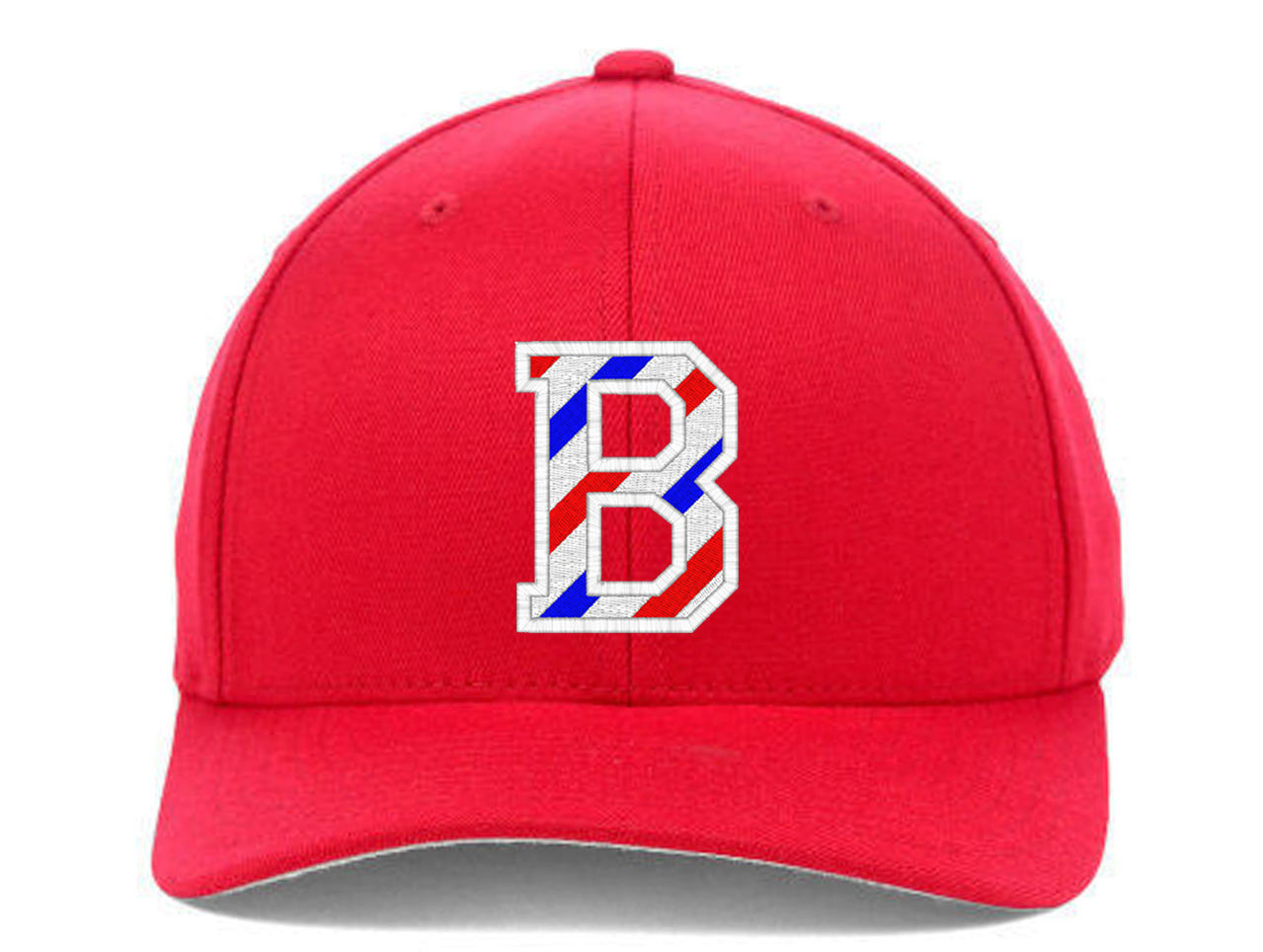 BARBER B Logo with Barber Pole Stripes Embroidered, Flexfit Hats