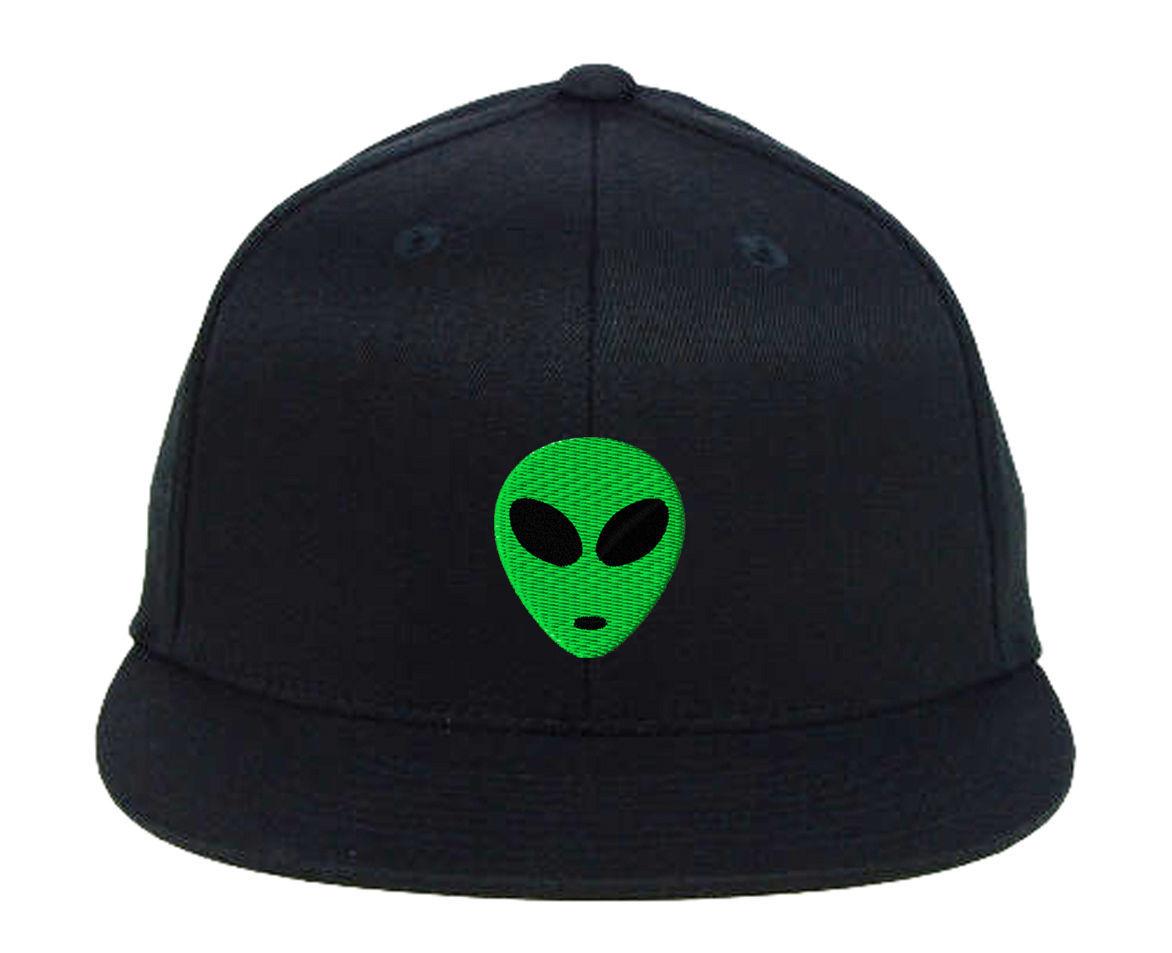 Green Alien Head Embroidered Snapback Hats