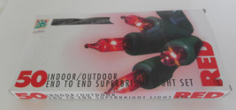 50 Indoor/Outdoor Superbright End to End Red Light Set Unused In Open Box - $10.00