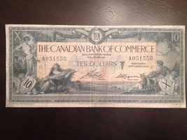 Reproduction $10 Bill Bank Of Commerce 1917 Toronto Chartered Bank Note - $2.96