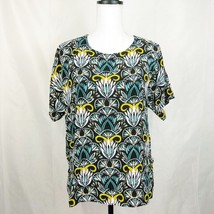 H&M Womens Top Size 8 Blue Print Casual Short Sleeve - $8.61