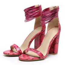ps269 Cutie serpentine ankle sandals, suede leather, size 35-40, red - $78.80