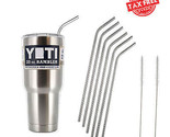 6 Reusable Stainless Steel Drinking Straws + 2 Cleaning Brushes Kit Set Yeti New