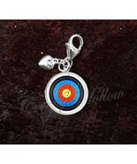 925 Sterling Silver Charm Archery Target Bow and Arrow toxophilite - $29.21