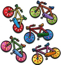 Lot of 5 bicycle retro bike cycle cyclist 70s kids fun applique iron-on patches - $6.92