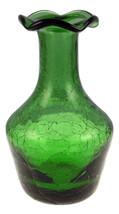 Vintage Kanawha emerald green crackle glass bud vase  ruffled rim - $20.00