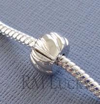 One Silver Tone Bead Stopper Clip Lock clasp Fits European Charm Bracelet C50 - $3.95