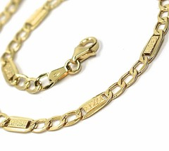 18K YELLOW GOLD CHAIN 4 MM, 19.7 INCHES, ALTERNATE GOURMETTE AND BUBBLES PLATE image 2