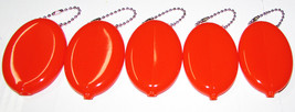 Orange Rubber Squeeze Coin Purses 5 units Vintage Oval Coin Holder Made ... - $11.29