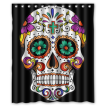 Sugar Skull #01 Shower Curtain Waterproof Made From Polyester - $31.26+
