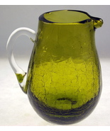 Vintage Pilgrim crackle glass mini pitcher oliv... - $20.00