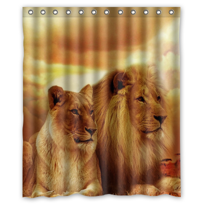 Sunset Love Lion #09 Shower Curtain Waterproof Made From Polyester