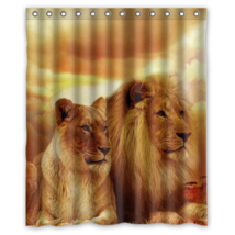 Sunset Love Lion #09 Shower Curtain Waterproof Made From Polyester - $31.26+