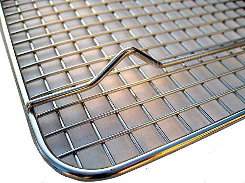 100 stainless steel wire cooling rack fits quarter sheet size baking pan 85 12 racks holders. Black Bedroom Furniture Sets. Home Design Ideas