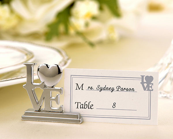 "152 ""LOVE"" Place Card Photo Holder Wedding Favors L-O-V-E Silver Reception Table"