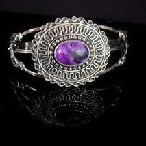 LARGE Sterling gypsy Bracelet Vintage Purple Women's wide cuff Jewelry a... - $145.00