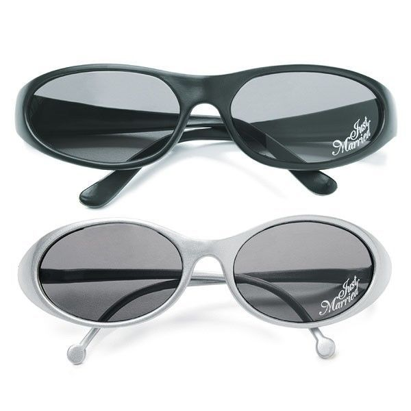 Just Married Groom Bride Sunglasses Silver Black His or Hers Wedding Gift Favor - $12.98