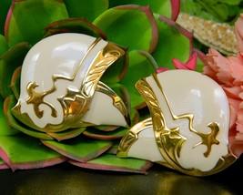 Vintage Berebi Signed Designer Abstract Art Earrings Enamel Cream Gold - $16.95