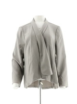 H Halston Long Slv Open Front Jacket Seam Sterling Grey 14 NEW A303200 - $38.59