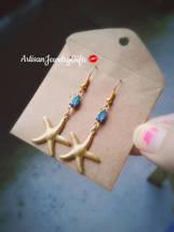 Gold Starfish Earrings Rainbow Gem Earrings Naitical Earrings Gold Starf... - $54.00